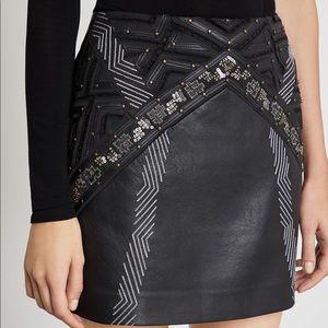 BCBG Embroidered Vegan Faux Leather Mini Skirt